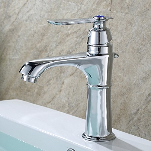 Chrome Bathroom Sink Faucet crystal Luxury single Handle Bar Sink Mixer Tap Lavory Faucet Silver Deck Mount Hot And Cold Water by HOTBASIN (Image #1)