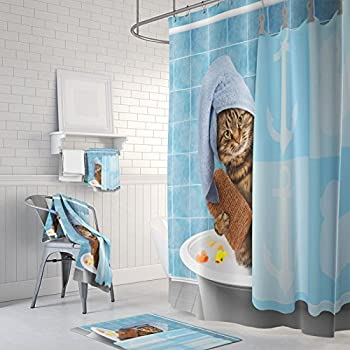 Gwein Animals Funny Kitten Cat Bathing Decor Shower Curtain Polyester Fabric Mildew Proof Waterproof Cloth