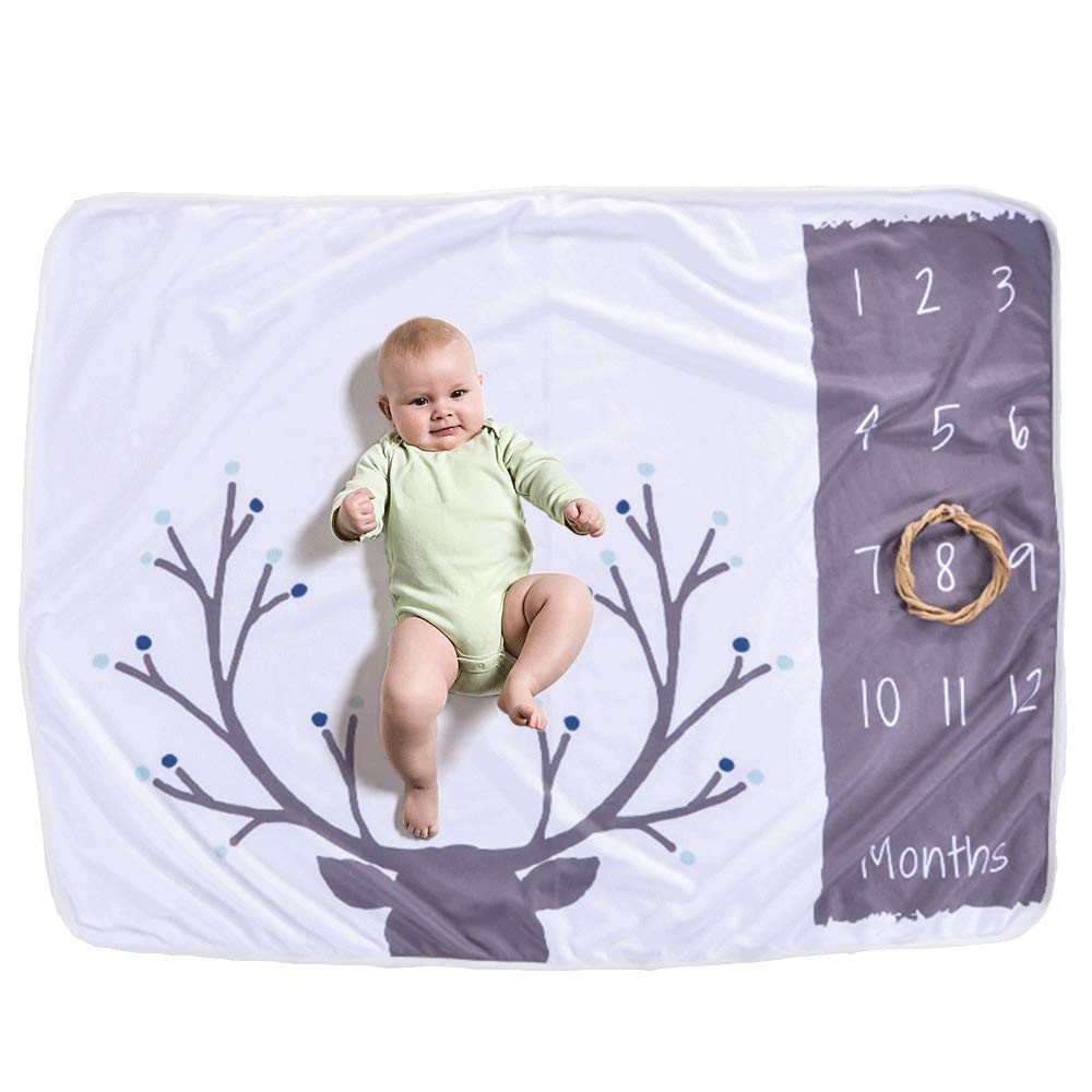 Decdeal Baby Monthly Milestone Blanket for Girl Boy Floral Deer Horn Frame Newborn Photo Prop Background 30 * 40in Not Wrinkle Or Fade
