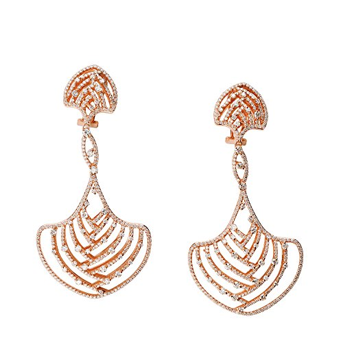 D'sire 18k Rose Gold Diamond Dangling Fine Earrings Women for Jewelry TDW 4.237 carats
