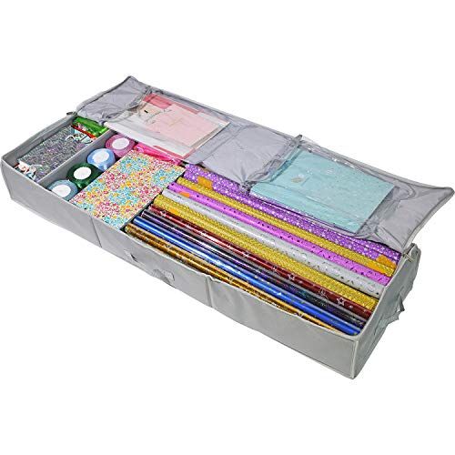 Clorso Under Bed Wrapping Paper Storage Container fits 40 & 42 Inch Gift Wrap Rolls - Gift Wrap Storage Box - Large Wrapping Paper Containers with 2 Large Inner Pockets (Gray)