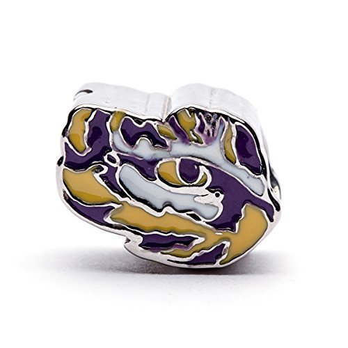 Lsu Tigers Logo Charm - Louisiana State University Charm | LSU Tigers - Tiger Eye Bead Charm | Officially Licensed Louisiana State University Jewelry | LSU Gifts | LSU Logo | Stainless Steel