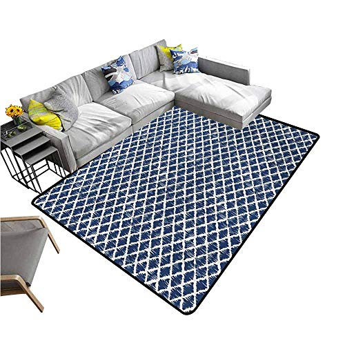 Large Floor Mats for Living Room Colorful Indigo,Hand Drawn Sketchy Like Zig Zag Inner Design with Rectangular Shapes,Petrol Blue and White 36