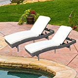 Do4U Adjustable Patio Outdoor Furniture Rattan Wicker Chaise Lounge Chair Sofa Couch Bed with Cushion (7557-GY-2 Pcs) Review