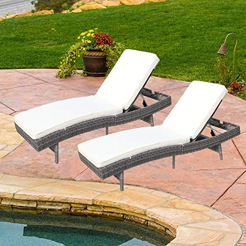 Do4U Adjustable Patio Outdoor Furniture Rattan Wicker Chaise Lounge Chair Sofa Couch Bed with Cushion (7557-GY-2 Pcs)