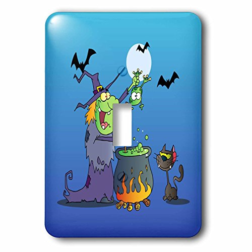 3dRose lsp_153714_1 Funny Crazy Witch Preparing a Potion with a Frog in a Cauldron Silly Halloween Holiday Cartoon Light Switch Cover]()