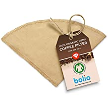 Organic Hemp Cone Coffee Filter– Reusable and Great for Making Smooth, Natural Tasting Pour Over Coffee - Eco-Friendly Bacteria Resistant Material Suit with Bolio, Chemex, Coffee Gator Carafe (No. 4)