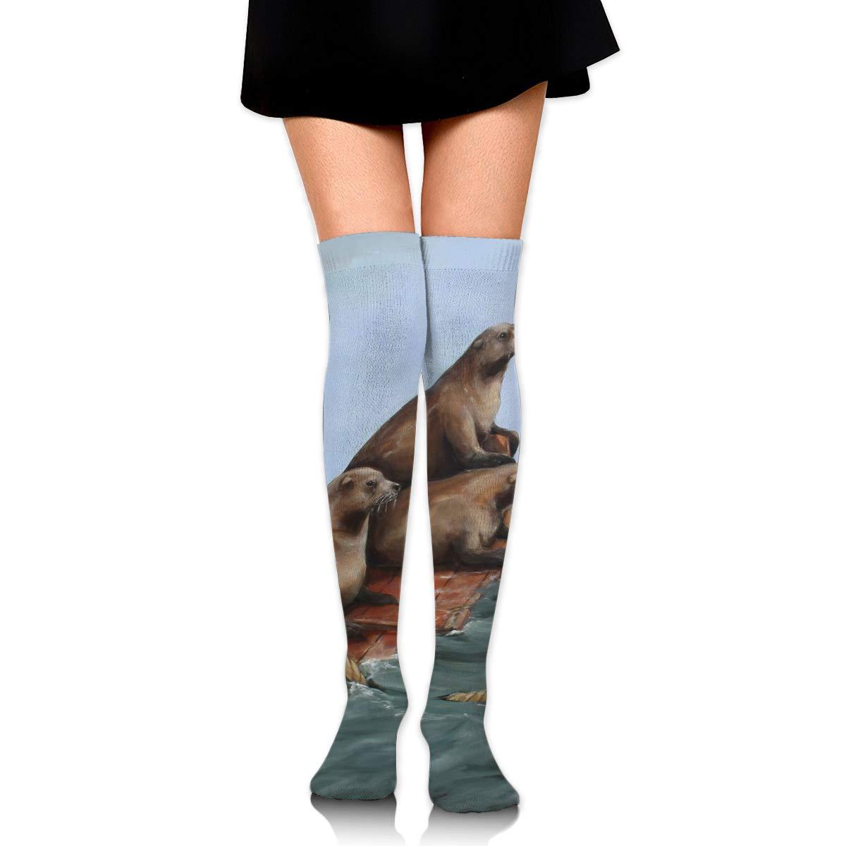 High Elasticity Girl Cotton Knee High Socks Uniform Sea Wood Sea Lions Women Tube Socks