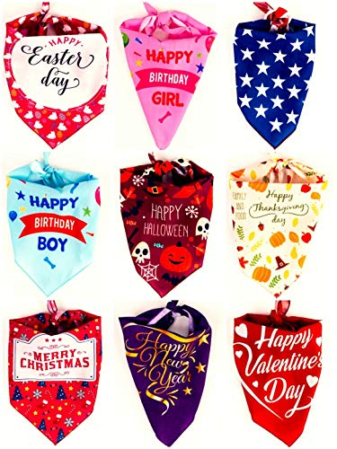 My Themba Dog Bandanas - 9pcs Dog Bandanna Pack for Birthdays and Holidays - Triangle Scarfs Bibs 27inch Bibs for Small Medium Large Pets - Customized Fashion Accessories for Puppies, Cats