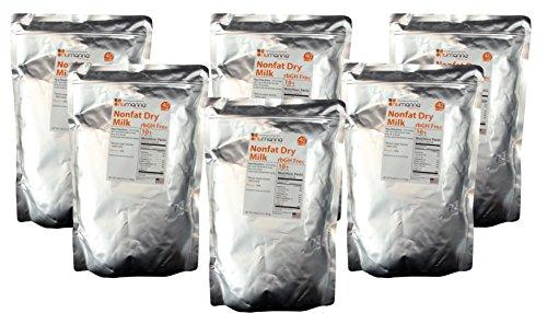 6 Pack Hormone-Free USDA Nonfat Dry Milk Powder 40 Serving Pouches. 10+ Shelf Life Condensed Powdered Milk - rbGH Free ( 6x Pouches ) by NuManna