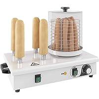 mewmewcat Appareil Hot-Dog 4 Tiges 550 W, Cuisine Cuisson Machine Acier Inoxydable avec Poignée Thermiquement Isolée 480 x 280 x 410 mm (l x P x H)