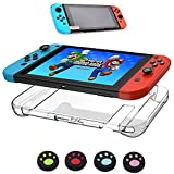 HuonGoo Hard Back Cover Case Crystal Protector for Nintendo Switch 2017+ high-definition Glass Screen Protector for Switch +4 Pieces Anti-slip Thumb Stick Caps Gel Guards for Joy-con Controller