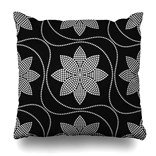 (iDecorDesign Throw Pillow Covers Curve Tiled Geometric Pattern Dotted Lotus Flower Tracery Wavy Garlands Floral Trellis Beads Abstract Home Decor Pillow Case Square Size 16 x 16 Inches)