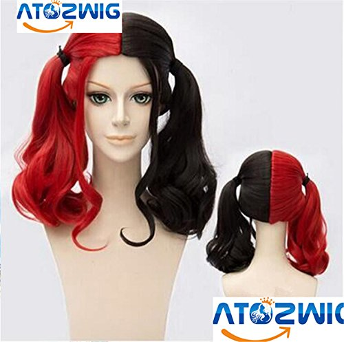 Red And Black Wig (ATOZWIG Medium Long Curly Heat Resistant Synthetic Hair Black Mixed Red Wig Halloween Masquerade Festival Party Cosplay Wig)