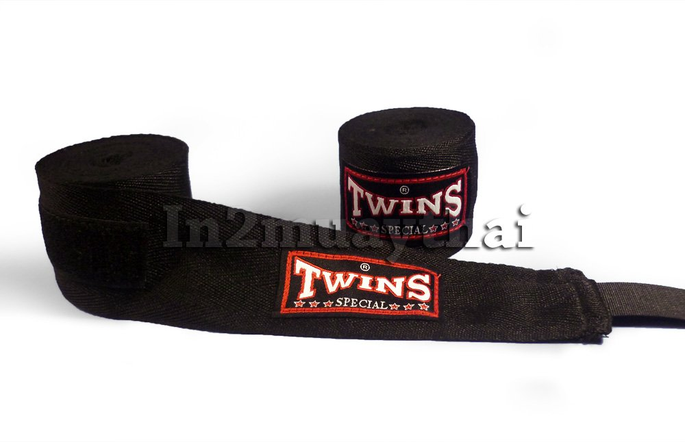 Twins Special Muay Thai Kick Boxing Hand Wraps Black by Twins special