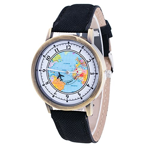 Womens Map Watch,COOKI Unique Quartz Analog Fashion Clearance Lady Watches Female watches on Sale Casual Wrist Watches for Women,Round Dial Case Comfortable Denim Watch-H55 - Black Sale