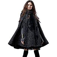 Artka Women's Hoodie Embroidery Turn-Down Collar Woolen Cape One Size