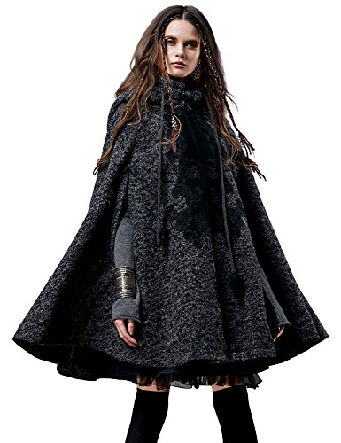 (Artka Women's Hoodie Embroidery Turn-down Collar Woolen Cape One Size Grey)