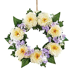 Collections Etc Lighted LED White Peony Wreath - Seasonal Window or Door Accent for Any Room in Home 71