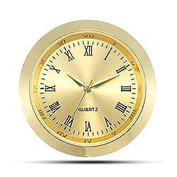 ShoppeWatch Mini Clock Insert Quartz Movement Round 1 7/16 (35mm) Miniature Clock Fit Up Gold Tone Dial and Bezel Roman Numerals CK085GD