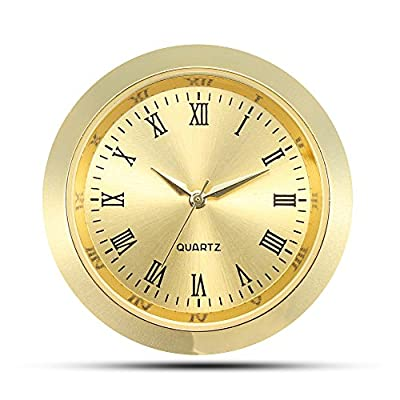 "ShoppeWatch Mini Clock Insert Quartz Movement Round 1 7/16"" (35mm) Miniature Clock Fit Up Gold Tone Dial and Bezel Roman Numerals CK085GD - Overall Outside Diameter: 1 7/16"" : This is the outside diameter of the clock face Mounting Insert Diameter: 1 3/8"" : This is the insert diameter of the opening that the clock fits in. Mounting Depth: 1/4"" - clocks, bedroom-decor, bedroom - 51axuFAW qL. SS400  -"