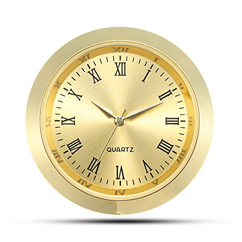ShoppeWatch Mini Clock Insert Quartz Movement Round 1 7/16 (35mm) Miniature Clock Fit Up Gold Tone Dial and Bezel Roman Numerals CK085GD