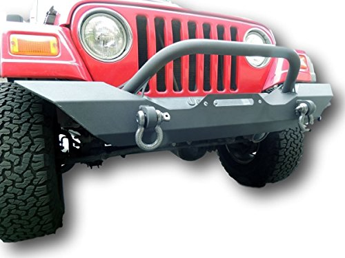 87-06 Jeep Wrangler TJ YJ Front Bumper, Powder Coated D-Rings MADE IN USA (Jeep Bumper Yj compare prices)