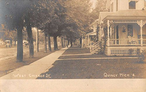 (Quincy Michigan West Chicago Street Scene Real Photo Antique Postcard K40350 )