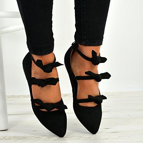 UK Toe Flats Bow New Pointed Fashion Cucu Womens Size Back Black Zip 8 Ladies Shoes 3 Ballerina UfOnq