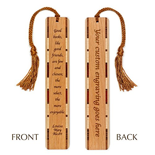 Personalized Author Louisa May Alcott Quote About Books and Friends Engraved Wooden Bookmark with Tassel - Search B01A016G2O to see non personalized version