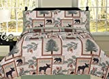 HowPlum Elk Bear Rustic Mountain Lodge Cabin Twin Quilt 5 Piece Bedding Embroidered Sheet Set