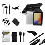 Bundle Monster 9pc Accessories Tablet Set - 360 Synthetic Leather Swivel Kickstand Case, Car + Wall Chargers, Retractable USB Cord, Stylus Pen, Screen Guard for Google Nexus 10, COLOR: MIDNIGHT BLACK