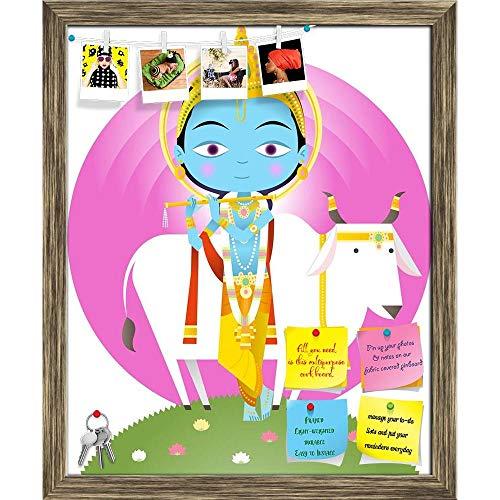 Artzfolio Hindu God Krishna Printed Bulletin Board Notice Pin Board Cum Antique Golden Framed Painting 12 X ()