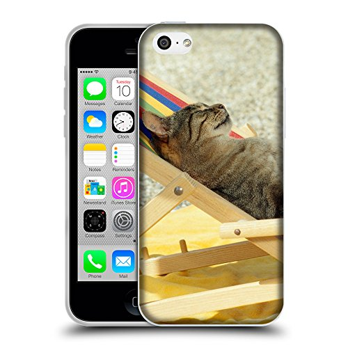 Just Phone Cases Coque de Protection TPU Silicone Case pour // V00004214 chat soleil dans le lit de soleil // Apple iPhone 5C