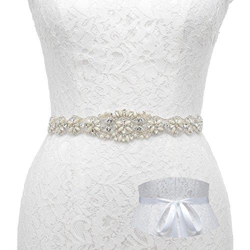 Remedios Sash Cinturón con perlas y brillantes para novia boda fiesta Prom Vestido de dama, (B)Ivory, 1