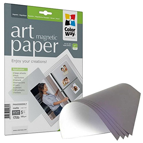 [ColorWay Glossy Magnetic Photo Paper, 8.5x11 inches, 5 magnetic photosheets (PGA690005MLT)] (Glossy Magnetic Paper)