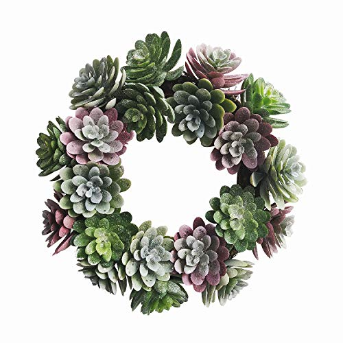 MyHappyFamily 22 Inch Artificial Succulent Wreath Arrangement for Front Door Home Office with Real Twig Based Back Green and Yellow