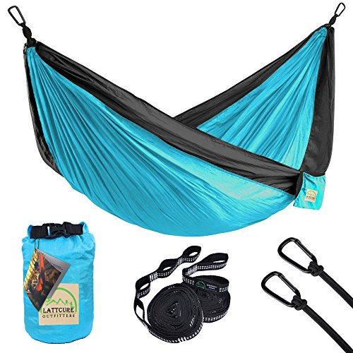 LATTCURE Double Camping Hammock, Lightweight Portable Hammock Parachute Nylon Fabric & 600LB High Capacity with 2 Adjustable Hanging Straps for Camping Backpacking Travel Beach Yard