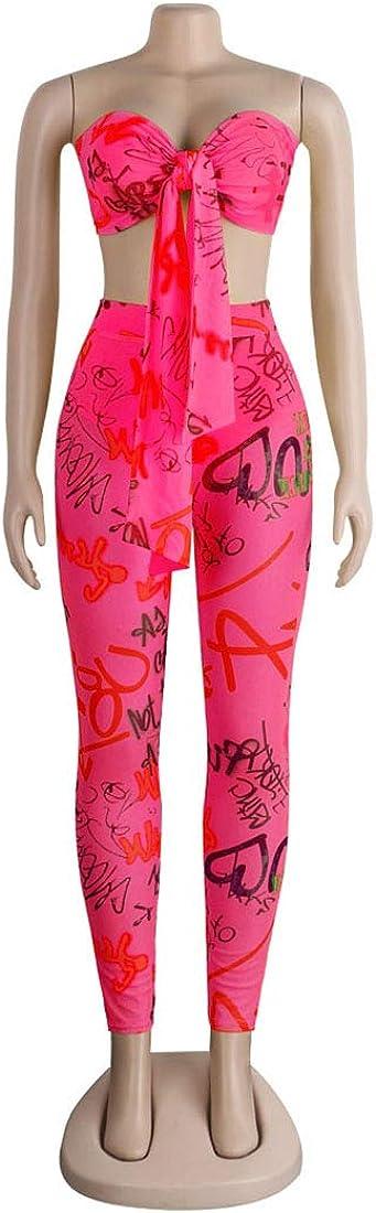 Womens 2 Pieces Outfit Graffiti Letter Print Tie Front Bandeau Crop Tops Sheer Mesh Bodycon Long Pants Jumpsuits