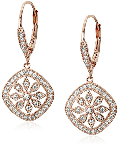Sterling Silver Plated Lever-Back Cubic-Zirconia Dangle Earrings