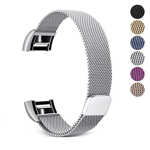Price comparison product image for Fitbit Charge 2 Band –Erencook Stainless Steel Magnet Metal Replacement Bracelet Strap for Women Men (L, Silver)