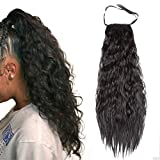 Ayana Long Synthetic Ribbon Ponytail Clip Heat Resistant Kinky Straight Ponytail Clip in Hair Extensions (24'', 1B)