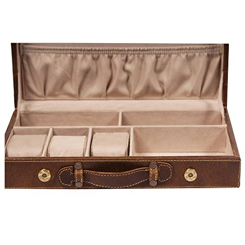 THREE SIXTY Vanity Box In Crocoprint Italian Leather With Spillproof Surface Treatment & Ample Product Utility Tan Crunch