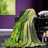 Spa Digital Printing Blanket Green Beautiful Lush Asian Bamboos with Other Tree Braches and Bushes Image Summer Quilt Comforter 80''x60'' Green and Pale Green