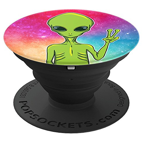Hand Peace Sign - UFO Lover - Trippy Alien Peace Sign - PopSockets Grip and Stand for Phones and Tablets