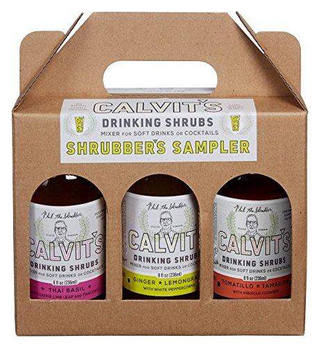 """Calvit's Shrubs - """"Shrubber's Sampler #2"""" Gift/Variety Pack — Ginger-Lemongrass • Thai Basil • Tomatillo-Tamarind — Handmade mixer for soft drinks & cocktails (3 x 8 oz.)"""