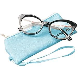 SOOLALA Womens Fashion Lightweight Vintage New Style Reading Glass, Black, +0.5