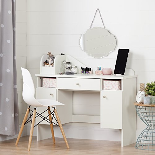 South Shore Make-up Dressing Table with 2 Doors and Storage Baskets, Pure White
