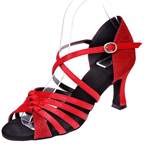 Loslandifen Damesschoenen Open Teen Dansschoenen Hoge Hak Salsa Tango Latin Sandalen Rood