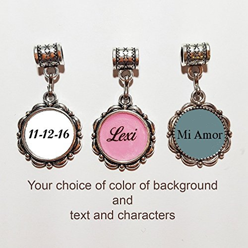 Custom Silver Charms - Custom silver charm by Mossy Cabin - your name or saying. This charm will fit a large hole style snake chain bracelet, or can be added to a neck chain or key chain. Your choice of color.